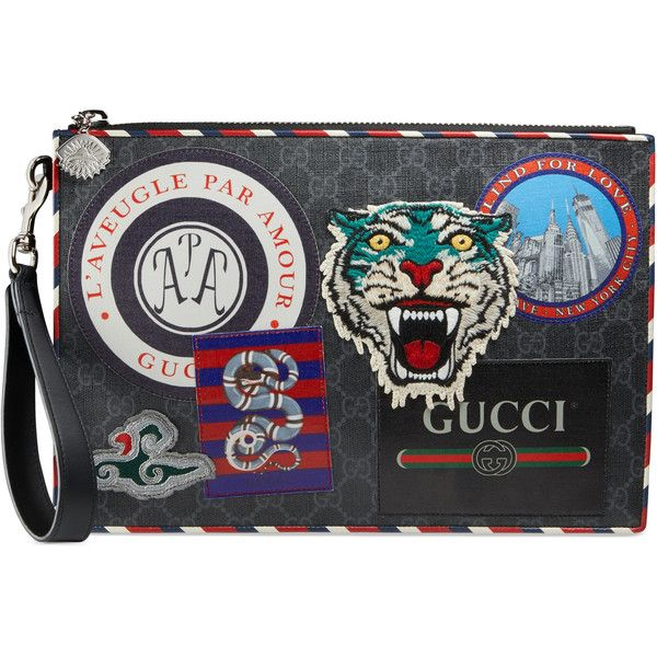 Gucci Night Courrier Gg Supreme Pouch ($950) ❤ liked on Polyvore featuring men's fashion, men's bags, accessories, men, wallets & small accessories, mens pouch, mens leather pouch and mens leather zipper pouch