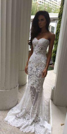 Charming White Lace Wedding Dress,S