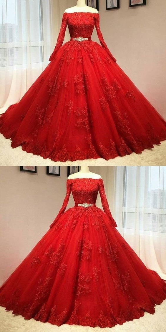 Red Prom Dress, Ball Gown Prom Dress, Long Sleevev Red Wedding Dress, Real 2016 Delicate Red Ball Gown Quinceanera Dresses, Prom Dress,Long,M000194#prom #promdress #promdresses #longpromdress #promgowns #promgown #2018style #newfashion #newstyles #2018newprom#eveninggowns#redpromdress#ballgown#longsleeve#weddingdress#meetbeauty