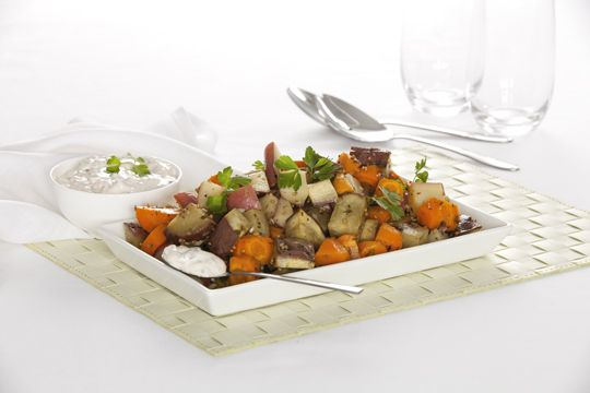 Roast veggie salad w sour cream and red onion dressing