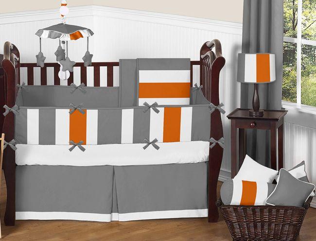 stripe gray and orange crib bedding set sweet jojo designs http