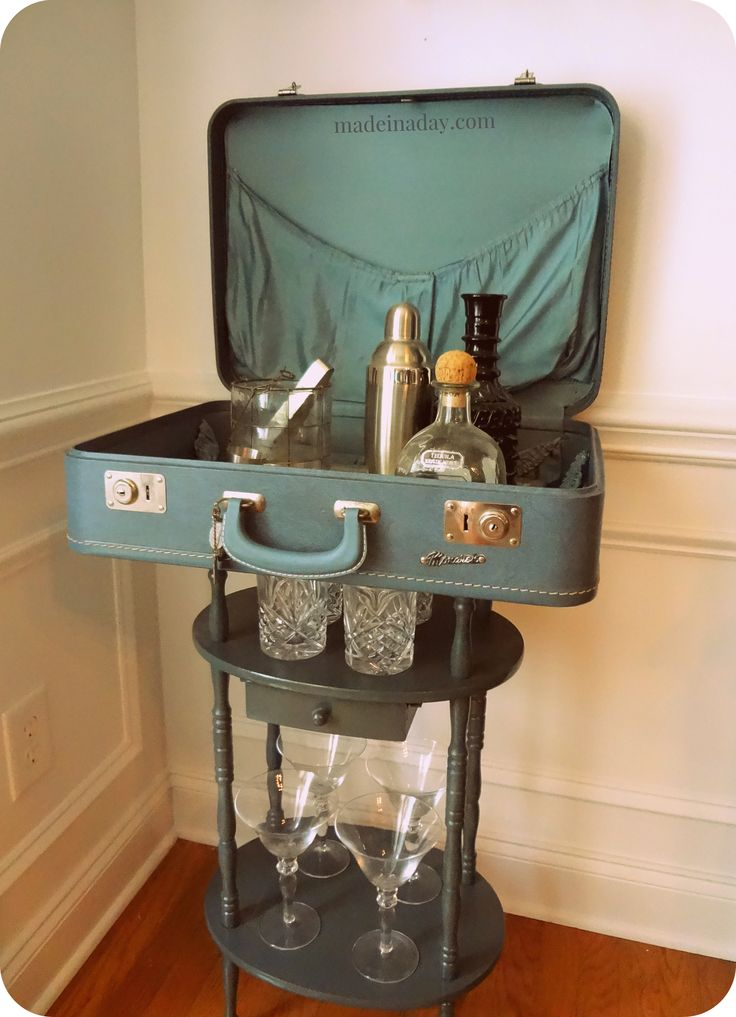 Good DIY Tutorial, Vintage Suitcase Table Bar, Vintage Monarch Suitcase,  Conversation Piece, Teal