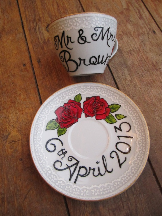 Red Rose & Lace effect hand painted wedding tea cup and saucer via Etsy