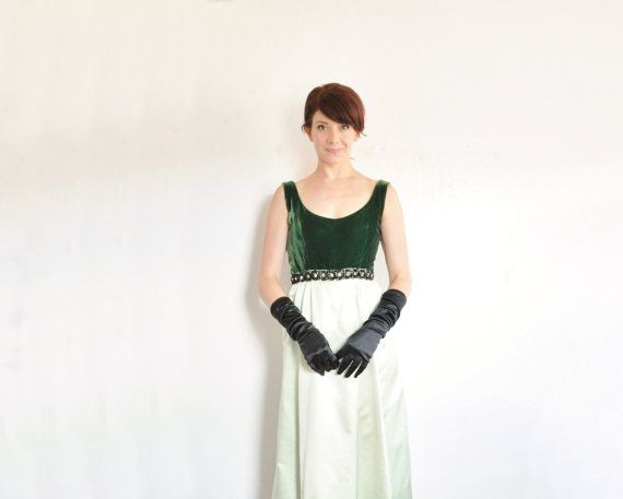 two tone green velvet gown . 1960 formal maxi dress . by DOTTO