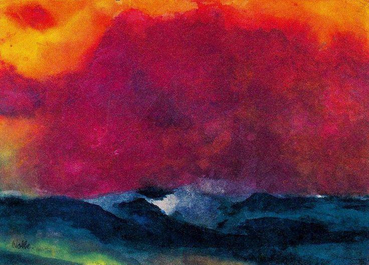 Mer avec Red Sky de Emile Nolde (1867-1956, Germany)