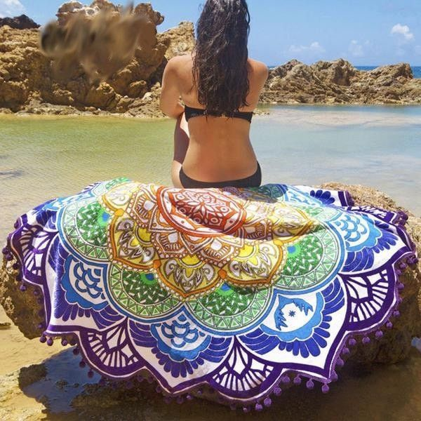 Pretty Multicolored India-Style Floral Beach Scarf One Size 7 Colors