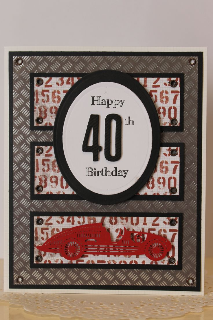 Masculine 40th Birthday card.  Metallic effect metal plate paper for the base. Black and red accents. Vintage race car and big 40.