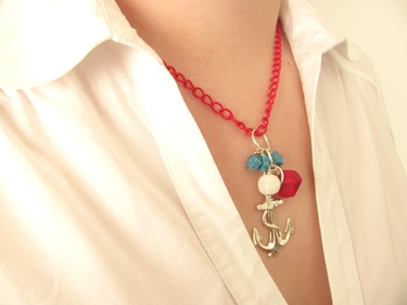 Collana con ancora // Necklace with anchor pendant - di bijouxdellostregatto via it.dawanda.com