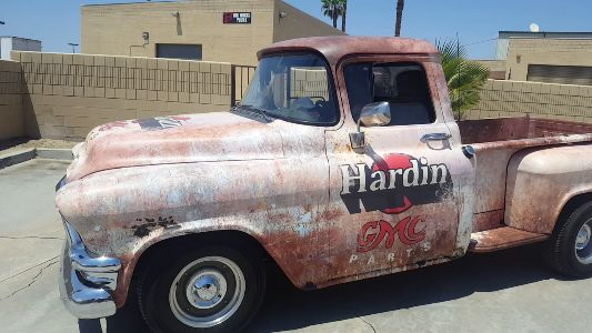 A recent project we did for Hardin GMC. We took this 56 GMC truck, which was a deep green and wrapped it to look completely rusted! Can you tell its all graphics? #TruckWrap #Rust #CustomGraphics #56 #GMC