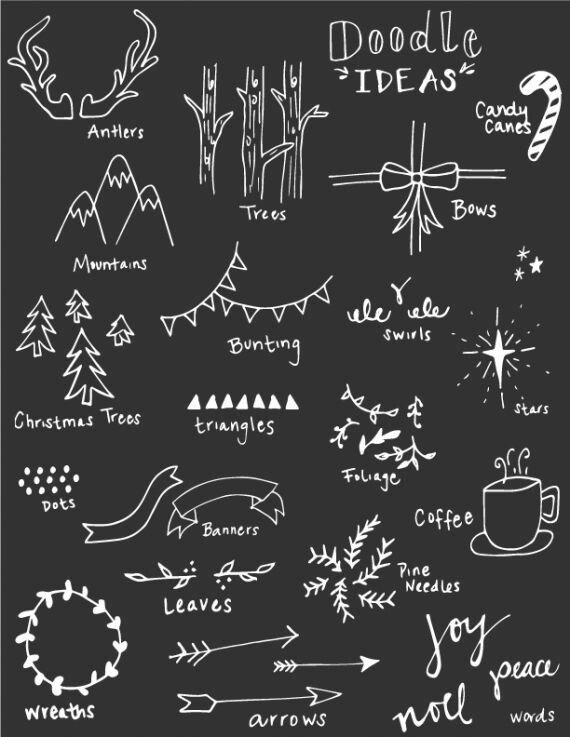 I like the triangles, you could use them as a string of Christmas lights, each one a different color. The wreath is cool as well. Joy, noel, and peace, would make a nice Christmas chalkboard.