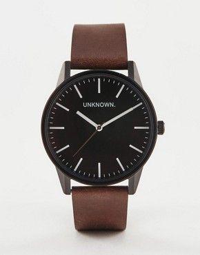 UNKNOWN - Montre classique en cuir avec cadran noir