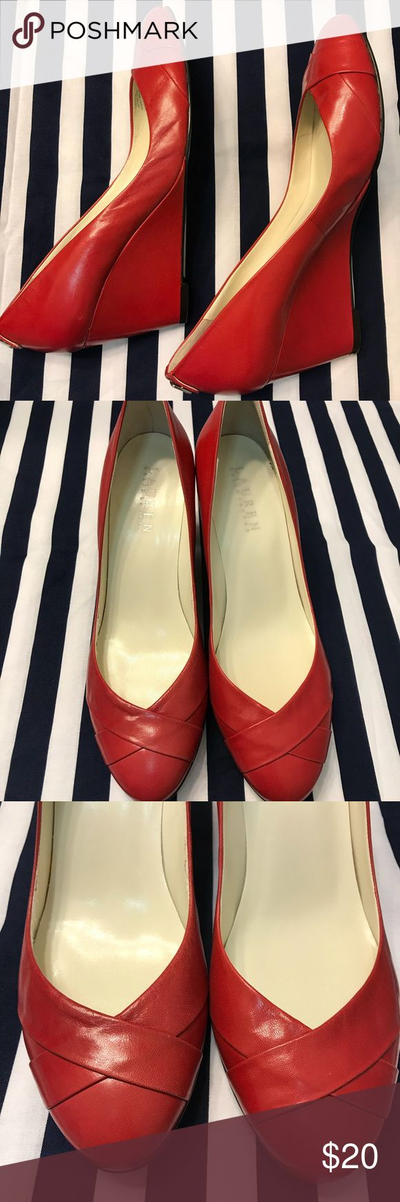 Ralph Lauren red wedge shoe Gently worn,  bright red very confortable shoes. Leather in perfect condition.  Minor sings of previous use in the interior. Heel is 7cm. High. Lauren Ralph Lauren Shoes Wedges