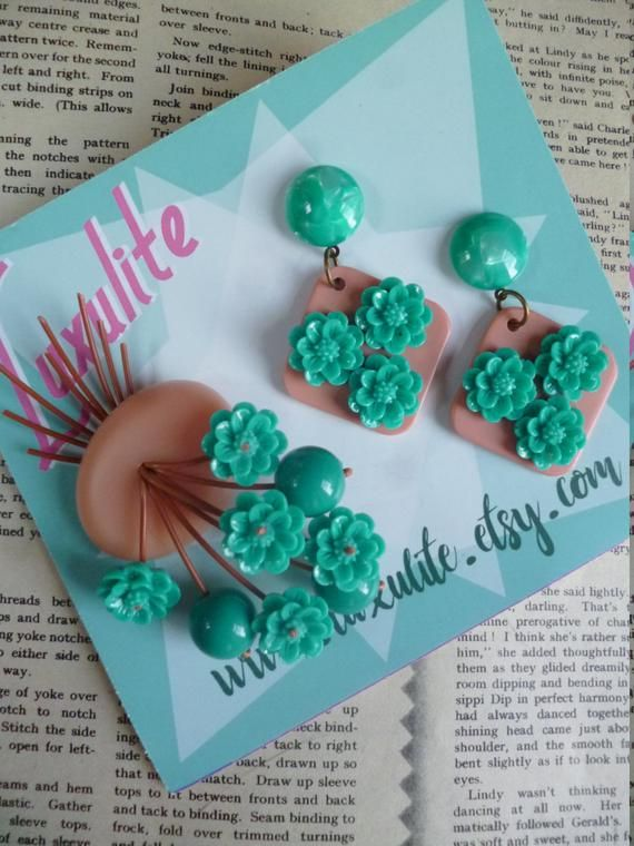 Peach And Teal Florals 1940s Vintage Stock Floral Dangle