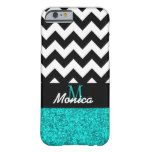 Personalized Black Chevron Cyan Glitter Barely There iPhone 6 Case