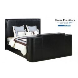 Miles Black Cal King Bed with TV Lift