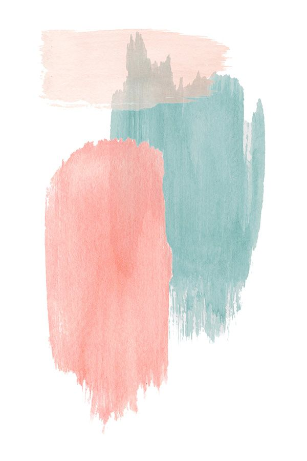 Abstract watercolor strokes print for instant download | Large pink coral blue abstract print | Pastel abstract print for bedroom