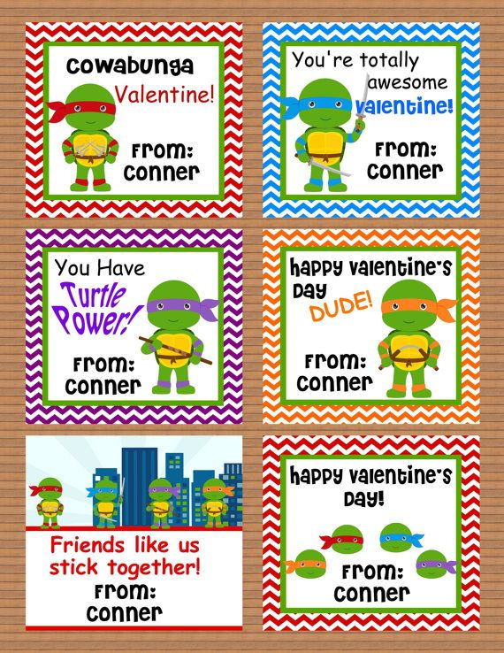 Personalized Teenage Mutant Ninja Turtle Class Cards for ...