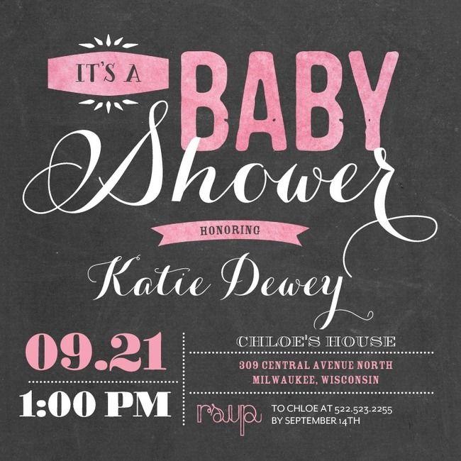 Pink, grey, baby shower invite, chalkboard
