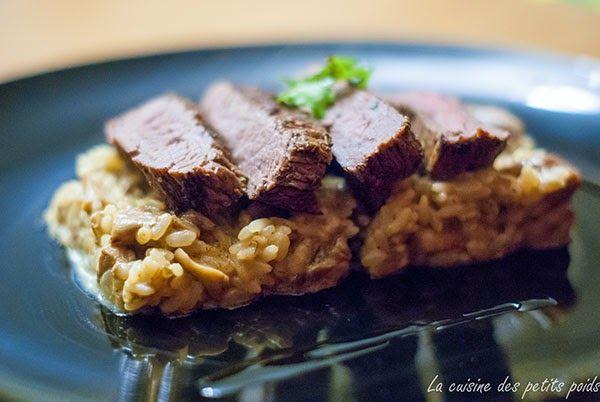 La cuisine des petits poids: Filet de bœuf grillé, riz aux cèpes et à l'huile de truffe
