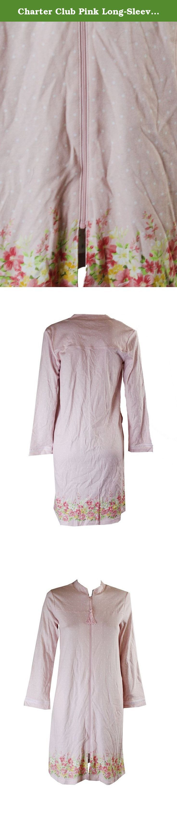 Charter Club Pink Long-Sleeve Polka Dots Zip-Up Robe XS. Charter Club Pink Long-Sleeve Polka Dots Zip-Up Robe XS.