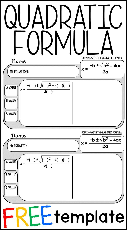 Free Quadratic Formula Warm Up Template Teaching Algebra Quadratics Maths Algebra [ 1324 x 736 Pixel ]