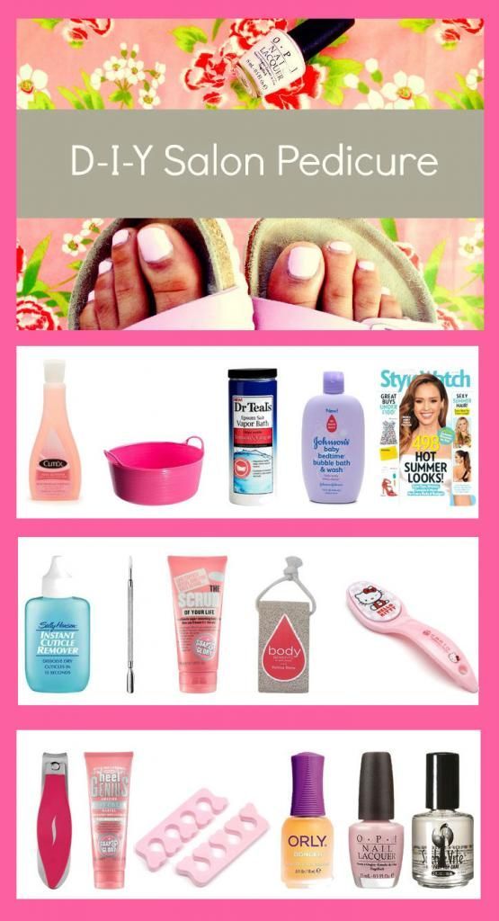 DIY PEDICURE: Use products you have at home to create a salon-worthy pedicure in 5 easy steps: SOAK / CUTICLE WORK / EXFOLIATE / CLEANSE & FILE / POLISH APPLICATION