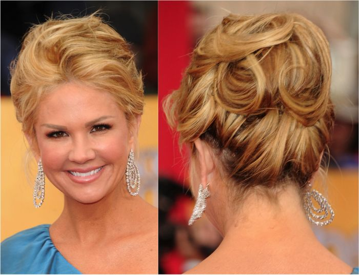 Blonde balayage highlights , updo hairstyles