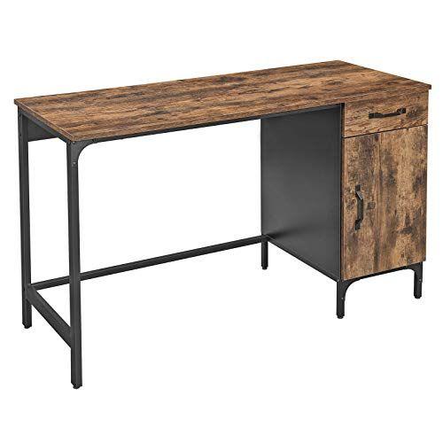 Vasagle Bureau Table Avec Tiroir Et Placard De Rangement Pour Bureau Salon Chambre Assemblage Simple Metal En 2020 Style Industriel Bureau Ordinateur Meuble Rangement