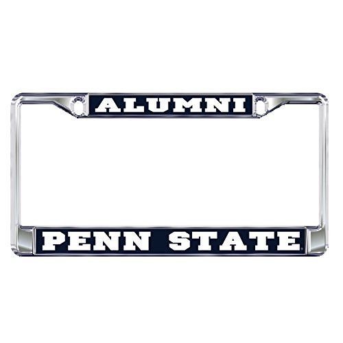 Penn State PLate Frame DOMED PENN STATE ALUMNI PLATE  DOMED PENN STATE ALUMNI PLATE (01081)  Metal plate frame with domed logo insets  Easy to Mount Around License Plate  Show your Team Support  Printed and assembled in USA