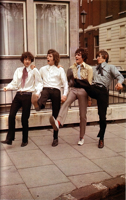 Pink Floyd on the day they signed with E M I.
