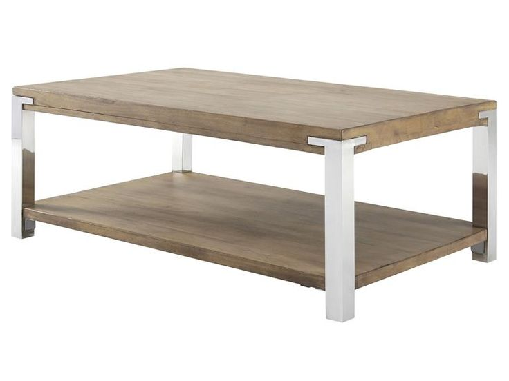 cocktail table features slightly distressed plantation grown hardwood top in light gray wash finish over natural with stainless steel legs