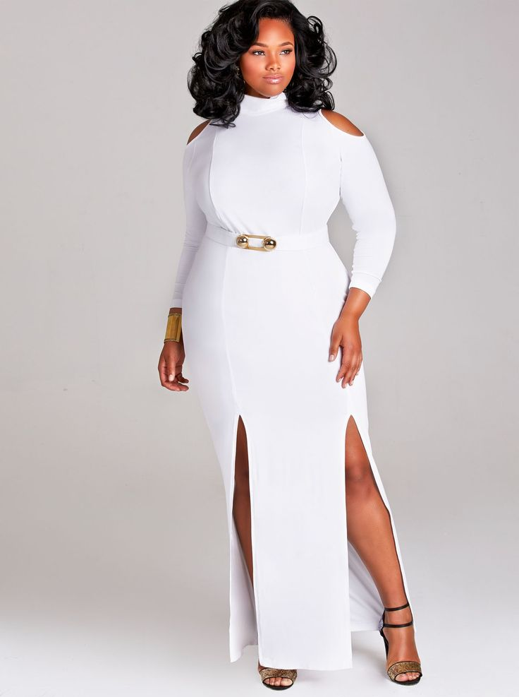 "MonifC EVA"" COLD SHOULDER DOUBLE SLIT DRESS WITH DETACHABLE BELT - WHITE"