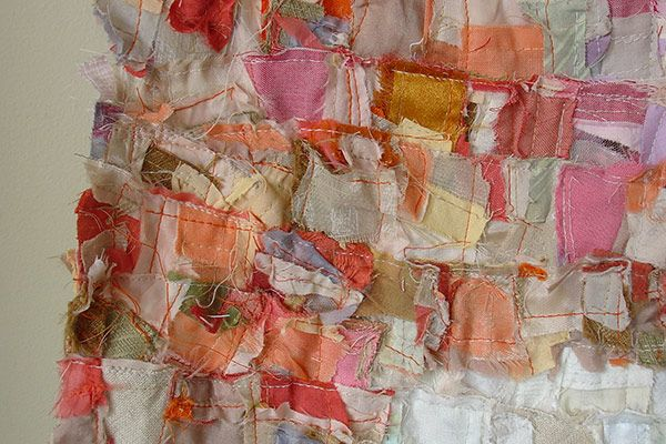 Detail of Barbara WISNOSKI 's pieced work -  pink field after rothko - 150 x 107 cm