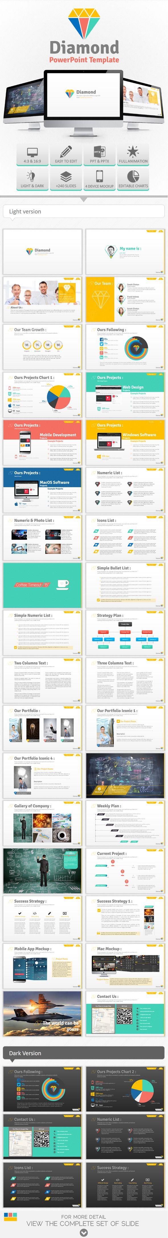 Diamond PowerPoint Template #presentation #design #powerpoint Download…