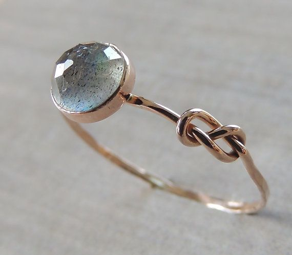 Labradorite Ring Rose Gold Ring Infinity Knot Ring by Luxuring