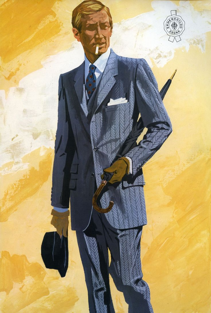 1968: Zegna starts the production and distribution of coats, jackets and trousers. Vintage advertisement.