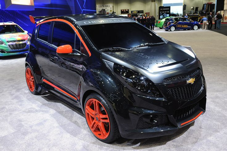 The second Chevrolet Spark that will help fill the massive GM SEMA Show display is the 'Spark Sinister Concept' is more aggressive looking in keeping with its name and sports a lower ride height. Description from bharathautos.com. I searched for this on bing.com/images