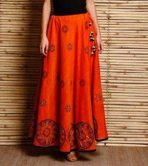 Orange & black printed cotton skirt