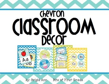 Time to start decorating! This pack is a perfect way to help you decorate your classroom with the chevron theme.  The colors in your room (Yellow, Teal, Blue, & Lime) will be bright and calming, which will create a perfect atmosphere for your students!