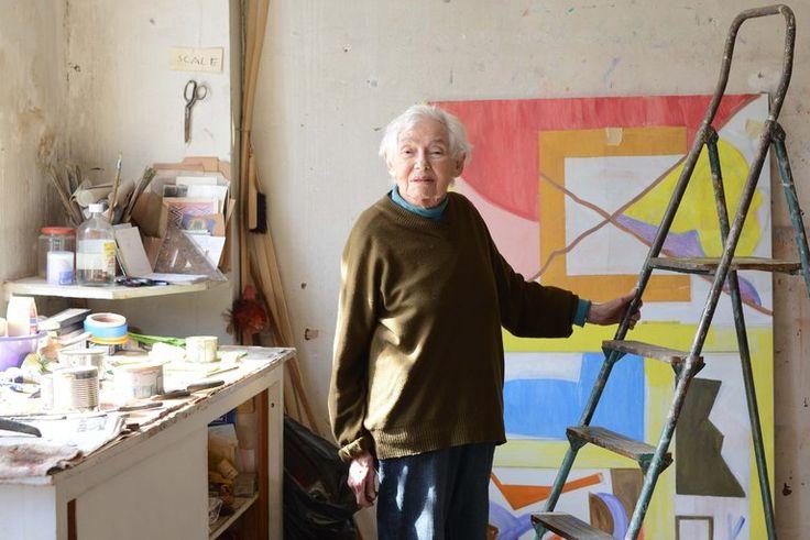 Shirley Jaffe, Geometric Artist of Joyful Forms, Dies at 92 - The New York Times. In her Paris studio.