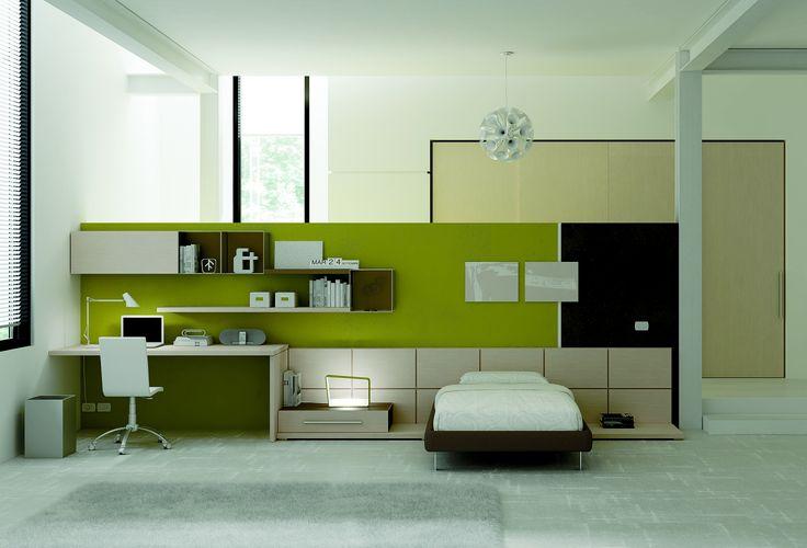 YC12 moderní studentský pokoj v zelené barvě / student room