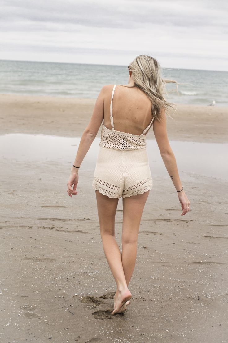 Crochet romper. Beach photoshoot for new Spring inventory