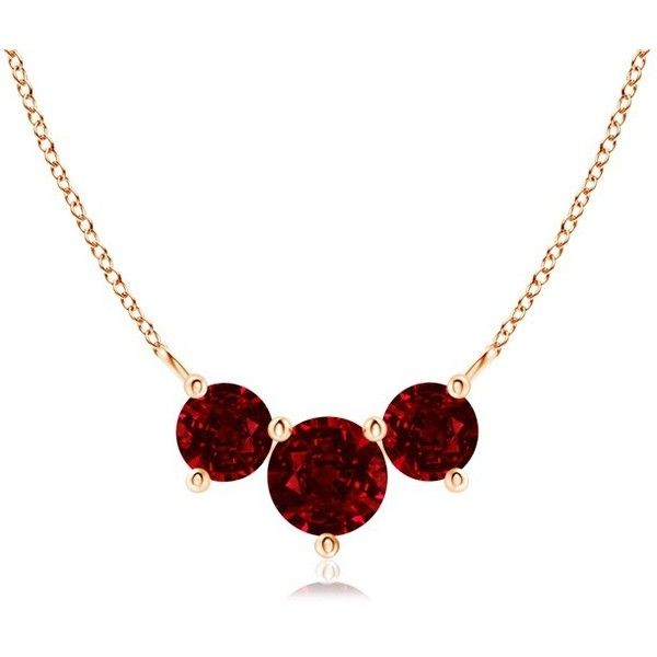 Classic Trio Ruby Necklace (1.154.400 CLP) ❤ liked on Polyvore featuring jewelry, necklaces, triple necklace, 14 karat gold pendants, three stone pendant necklace, red ruby necklace and 14 karat gold necklace
