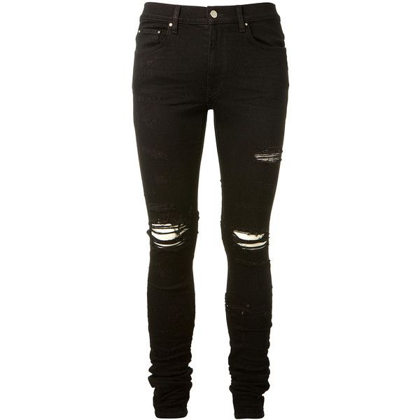 Amiri Slim Tapered Shotgun Blasted Jean ($1,100) ❤ liked on Polyvore featuring men's fashion, men's clothing, men's jeans, pants, bottoms, jeans, men, mens slim fit tapered jeans, mens destroyed jeans and mens distressed jeans