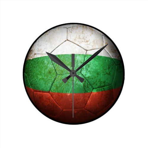 Worn Bulgarian Flag Football Soccer Ball Round Clock