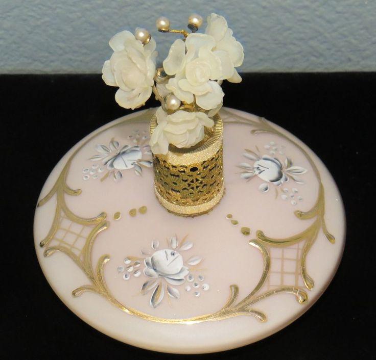 Impressive Irice? Lg perfume bottle atomizer painted gold plastic flowers pearls