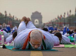Narendra Modi with India Gate in background Yoga Day Delhi
