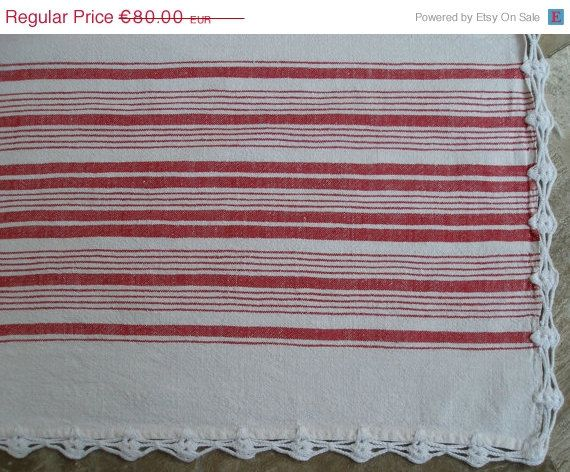 Vintage Striped White Red Bedspread or Tablecloth by VintageHomeStories,  #CountryHouse, #HomeDecor, #CottageChic, #ShabbyChic, #CountryHouseDecor, #FarmhouseDecor, #Bedspread, #Tablecloth, #StripedDecor #VintageHomeStories #VintageDecor