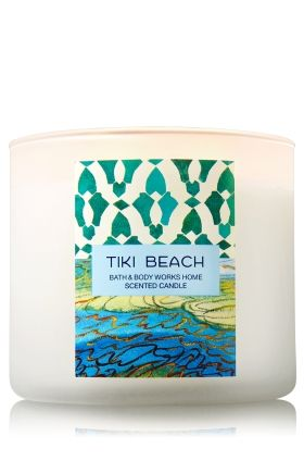 "Tiki Beach - 3-Wick Candle - Bath & Body Works - The Perfect 3-Wick Candle! Made using the highest concentration of fragrance oils, an exclusive blend of vegetable wax and wicks that won't burn out, our candles melt consistently & evenly, radiating enough fragrance to fill an entire room.�Plus, beautiful frosted glass adds cool coastal style to your d�cor!�Burns approximately 25 - 45 hours and measures 4"" wide x 3 1/2"" tall."