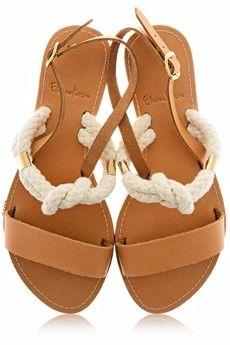 ELEANNA KATSIRA ROSANA Nude Leather Rope Sandals - SHOES   SANDALS   PRET-A-BEAUTE.COM